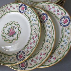 """8 Fine HAVILAND Porcelain 7.5"""" Plates * Louveciennes * ROSES Lush GILT Accents"""
