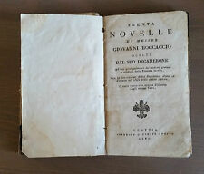 """Libro Antico """"Trenta novelle di Messer Giovanni Boccaccio"""" 1807"""