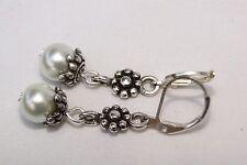 New Brighton  Silver Flower Capped Pearl On Custom Lever Back Earrings