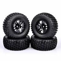 4Pcs 1:10 RC Short Course Truck Rubber Tire&Wheel For TRAXXAS SLASH HPI 12mm Hex