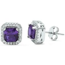 Amethyst & White Sapphire Square Halo Stud Earrings/Solid Sterling Silver