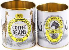 More details for set of 2 kitchen multi purpose metal storage tins - safari tea coffee design