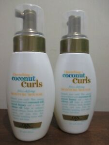 2x OGX Quenching Coconut Curls Frizz-Defying Moisture Mousse 8 oz  New
