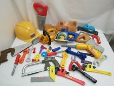 PLAY CONSTRUCTION TOOL LOT PRESCHOOL MOTORIZED POWER TOOLS HARD HAT TOOL BELT