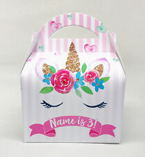 Unicorn Floral Personalised Children Party Boxes Gift Favour 1ST CLASS POST