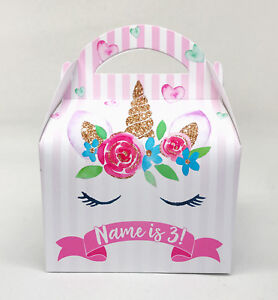 Unicorn Floral Personalised Children Party Boxes Gift Favour