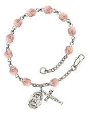 October Birth Month Bead Rosary Bracelet w/ St Gerard Majella Petite Charm
