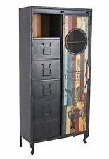 Hochschrank Retro Schuhschrank Vintage Schiebetür Flurschrank Garderobenschrank