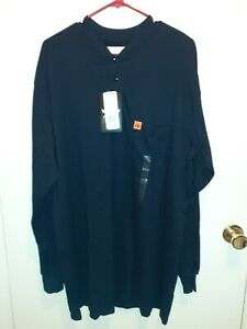 Wrangler FR Riggs Workwear Flame Resistant Navy Blue Long Sleeves Shirt Size XL