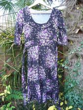 'NEW LOOK' BLACK PURPLE FLORAL DRESS 3/4 SLEEVE SOFT STRETCH JERSEY - SIZE 10/12