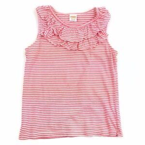 Gymboree M 7-8 Coral Stripe Tank Top White Ruffle Neck Sleeveless Top Shirt Girl