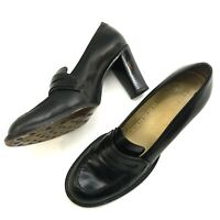 Antonio Melani Plentiful Sz 8M Black Penny Loafer Moc Toe Heels Pumps Shoes