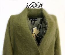 Lee Sands Angora Missy Green Blend Fully Lined Cardigan w/ - Cable Detail