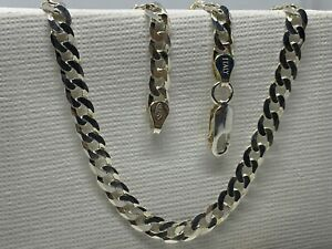 """Solıd 925 Genuine Sterling Silver 4.5mm Mens Curb Chain Necklace 16"""" - 24"""" New"""