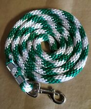 Horse Nylon Lead Rope 70 inches with steel  Swivel Snap green/white CANDY CANE