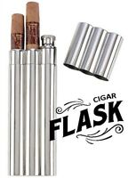 Cigar Holder Case w/ 2 oz. Flask 2 Cigars Tubes Stainless Steel