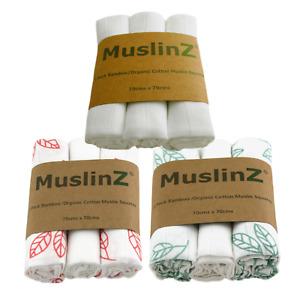 MuslinZ 3PK Luxury Baby Muslin Squares 70x70cm Bamboo/Organic Cotton Leaf/Plain