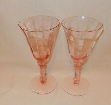 2 Vintage Pink Depression Cut Glass Optic Wine Glasses Faceted Stem Goblets