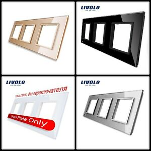Luxury White Pearl Crystal Glass,EU standard, Triple Glass Panel For Wall Switch