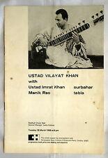 USTAD VILAYAT KHAN. Rare concert programme. 1968. Solihull Civic Hall concert.