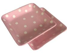 Pampered Chef Pink Help Whip Breast Cancer Plates Pink Polka Dot New