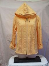 Christopher & Banks M Peach Hoodie Jacket Crinkle Cotton Blend Zip Front EUC