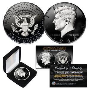 1964 BU Silver JFK Half Dollar 2-Sided BLACK RUTHENIUM & Silver Highlights w/BOX