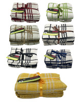 100% COTTON EPSOM LUXURY TEA TOWELS KITCHEN TOWEL CHECK DESIGN PACK OF 3/6/12