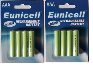 ENVOI AVEC SUIVI - EUNICELL 8  piles rechargeables AAA - LR03  1,2 volt 900 mAh