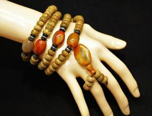 Many years Natural Star Moon Bodhi Seed with jade Necklace Bracelet