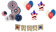 Patriotic Decorations Set 6 Paper Fans 8 Balloons Banner & String Red White Blue