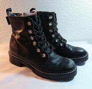 Kurt Geiger London Rhinestone & Chain Distressed Leather Combat Boots sz 40
