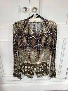 LUXURY Roberto Cavalli Just Cavalli Silk Snake Print Shirt / Gold 46 UK 12/14