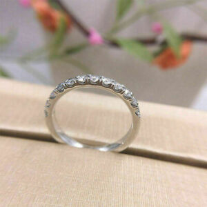 0.75Ct Round Cut Real Moissanite Half Eternity Wedding Band 14K Gold Finish
