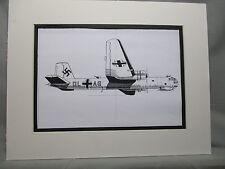 German Heinkel He 177 Heavy Bomber  artist pen ink  1964 New York Worlds Fair