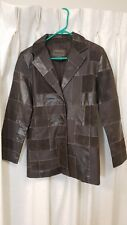 Brandon Thomas Brown Leather Button Jacket - Women's Size S Small - Patches