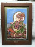 "34x24"" Huge Wooden Framed Indian Miniature Painting Hindu God Swaminarayan Signe"