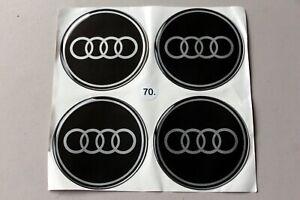 Universal Audi Sticker Logo 70mm Set For Alloy Wheel Center Cap Cover Hub 4pcs
