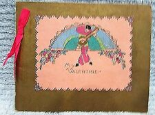 Vintage 1930s 4x5 Gold Pink Ribbon Valentine Card Asian Guitar Player FREE S/H