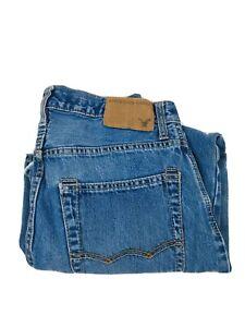 American Eagle Men's Low Rise loose Fit Blue Denim Jeans Sz 28X28 (Actual 28X26)