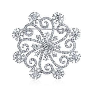 Large Swirl CZ Cubic Zirconia Scarf Christmas Snowflake Brooch Pin