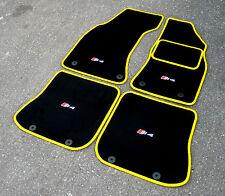 """schwarz/gelb super Velours FUßMATTEN - Audi S4 B5 (1997-2002) + """" S4 """" Logo (x4)"""