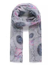 Ladies Scarf Pashmina Floral Print Gray Pink SS17 New Designs Shawls