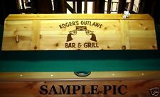 Custom Pool Table Poker Billiards Wood Light  w/ Your Name Company Logo Mancave