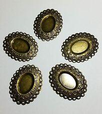 5 Tono de bronce 1:12 Bandeja cabujón De Filigrana Wraps Conectores 45x35mm