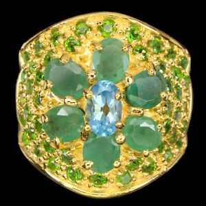 Oval Swiss Blue Topaz 6x4mm Chrome Diopside Emerald 925 Sterling Silver Ring 7