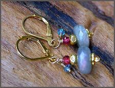 *PI*AAA LABRADORITE Blue TOPAZ GARNET Hill Tribe 22k Gold Vermeil Earrings!