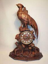 wunderschöne geschnitze Fasan Jagdpendule um 1880 Carved Wood Black Forest clock