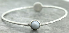 Ladies Vintage Ippolita 925 Sterling Silver Textured Pearl Bangle Bracelet
