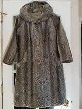 Vintage BACARA Fairmoor La France Fur Faux Swing Coat Mint Grey Fully Lined